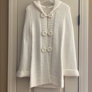 Forever 21 Chunky Knit Cream Hooded Cardi Sweater